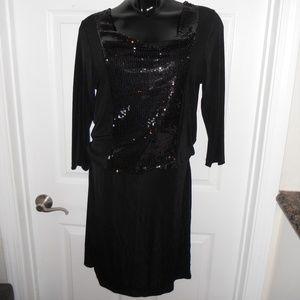 Slinky Brand Black Sequin Travel Knit Dress